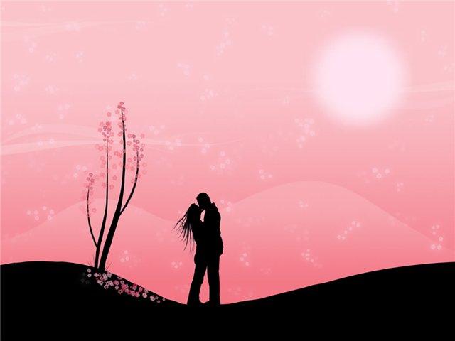 Поцелуй при розовом небе.